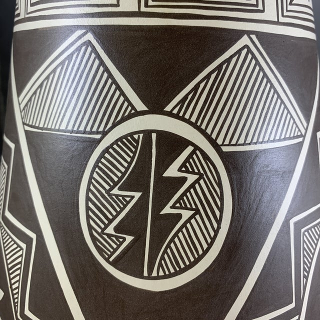 Black Vintage Stella Teller Southwestern Polychrome Mountain Design Painted Vase For Sale - Image 8 of 13