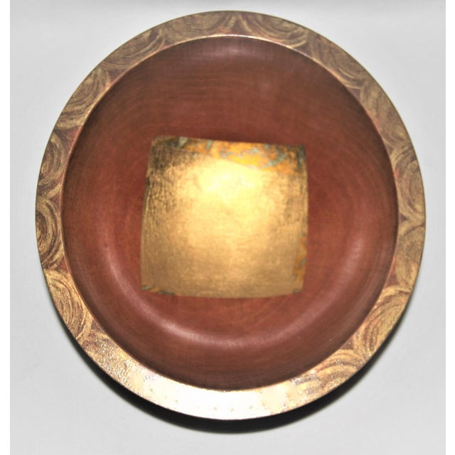 Metal Hand-Carved Mixed Media Maplewood Art Bowl For Sale - Image 7 of 10