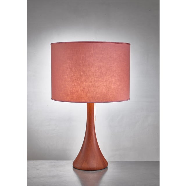 Mid-Century Modern Dyrlund Wood Table Lamp, Denmark, 1960s For Sale - Image 3 of 3