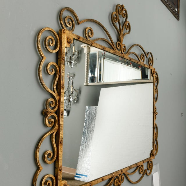 Glass 1960s Large Italian Gilt Metal Horizontal Scrollwork Mirror For Sale - Image 7 of 8