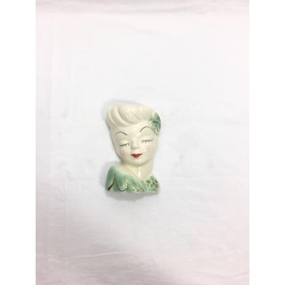 1950's Vintage Mid Century Girl Head Vase or Wall Pocket Preview