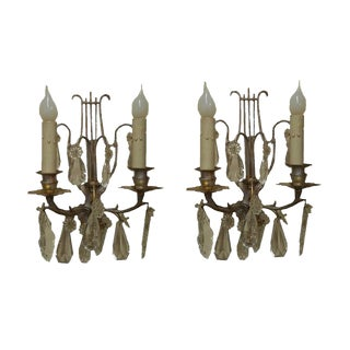 Pair of Iron and Crystal Sconces
