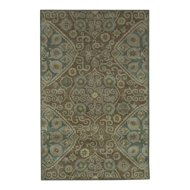 Hand Tufted Brown Wool & Cotton Victoria Rug - 8′ × 10′ - Image 1 of 4