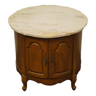 Vintage French Country Broyhill Furniture Storage Round End Table For Sale