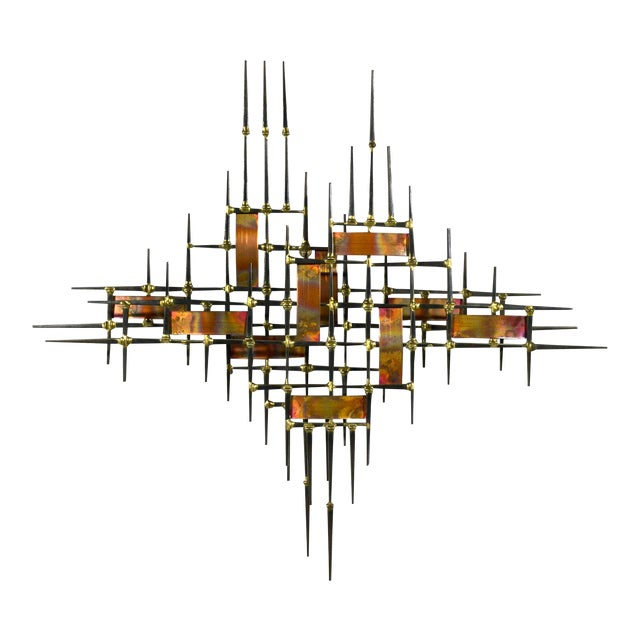 Abstract Wall Sculpture in Iron, Bronze & Copper For Sale