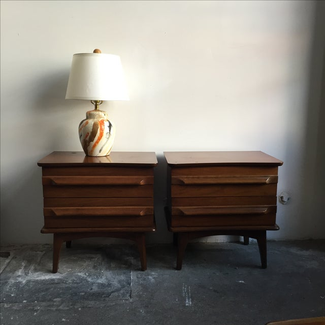 Mid-Century Mahogany Nightstands - A Pair - Image 4 of 5