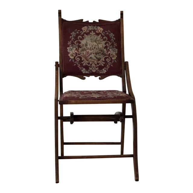 1900s Antique Victorian Tapestry Folding Chair For Sale