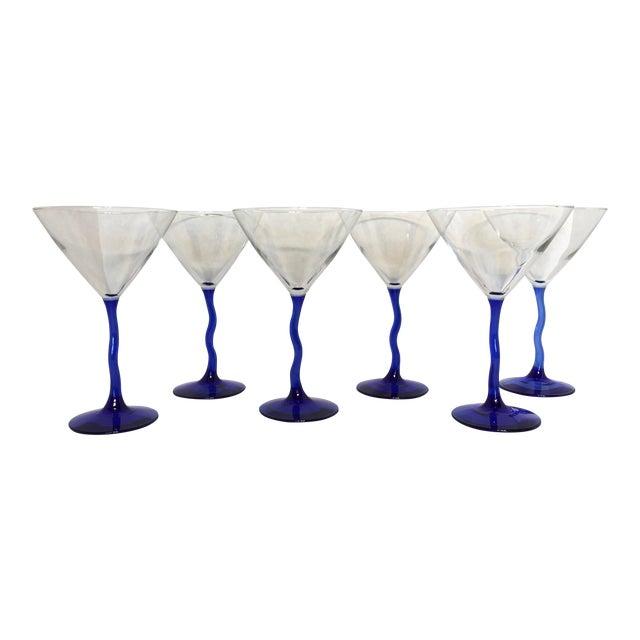 Cobalt Blue Bent Stem Martini Glasses- Set of 6 - Image 1 of 3