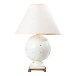 1940s White Globe Lamp With Gold Stars & Milky Way With Shade For Sale