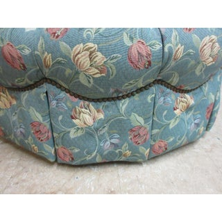 Henredon Tufted Round Schoonbeck Hobb Nail Ottoman Foot Stool Bench Seat Preview