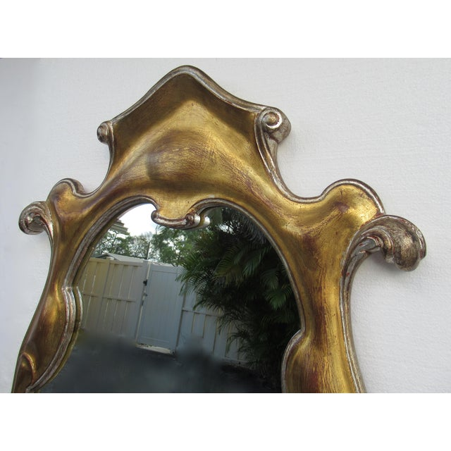Vintage Hollywood Regency Dorothy Draper-Style Parcel Gilt Gold & Silver Ornate Curvy Mirror For Sale - Image 9 of 13