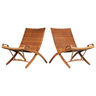 Hans Wegner Cane and Oak Folding Chairs for Johannes Hansen of Denmark For Sale