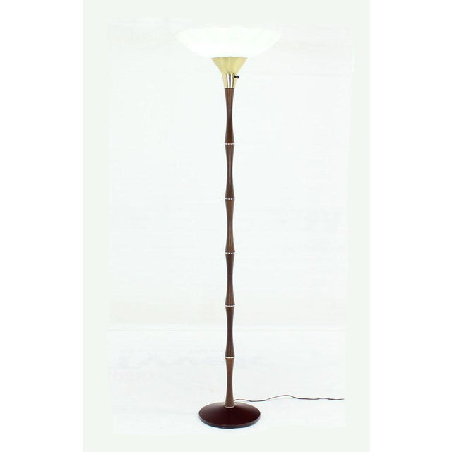 Very nice large 18 inches diameter glass shade faux bamboo floor lamp. In style of Maison Bagues