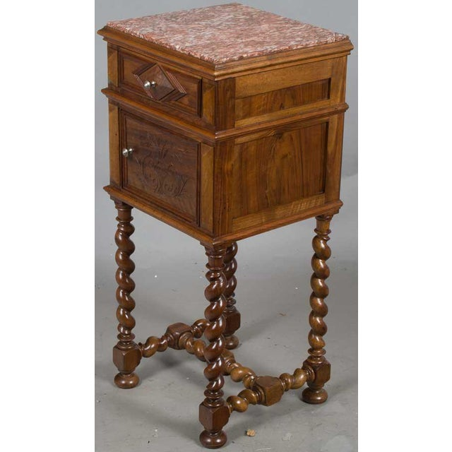 1900s French Marble Topped Walnut Pot Cupboard For Sale - Image 12 of 13