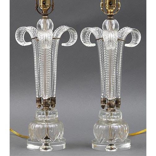 Mid-Century Modern Pair of Palm Murano Lamps For Sale - Image 3 of 3