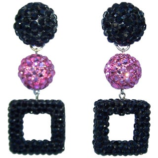 Mod 1980's Go Go Girl Style Pave Crystal Dangle Earrings For Sale