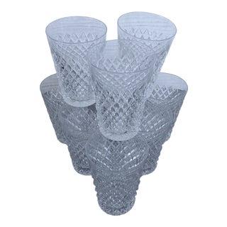 Holiday Brunch Handcut Crystal Juice Glasses Set of Nine For Sale