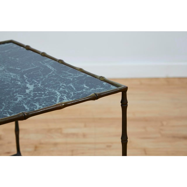 Vintage Maison Bauges Style Two-Tier Faux Bamboo Side Table For Sale In Los Angeles - Image 6 of 13