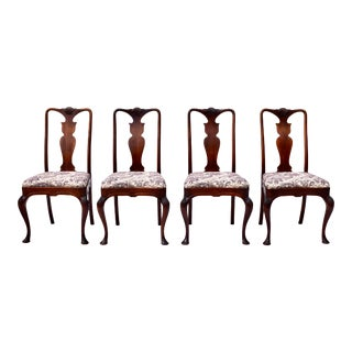 1930's Queen Anne Style Walnut Dining Chairs For Sale