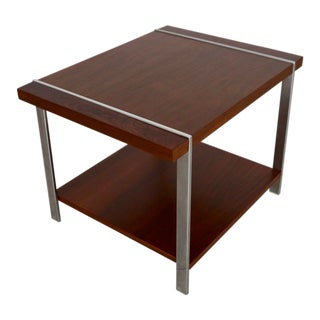 1960s Danish Modern Rosewood, Walnut, & Chrome End Table For Sale