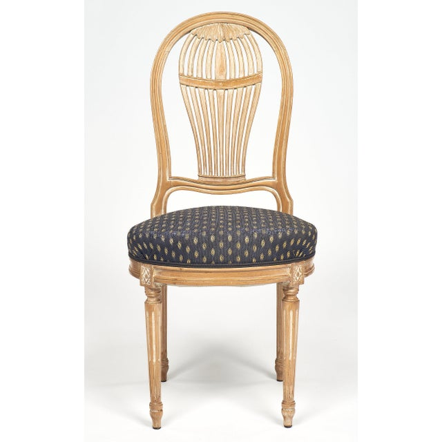 French Louis XVI Style Céruse Dining Chairs For Sale - Image 3 of 10