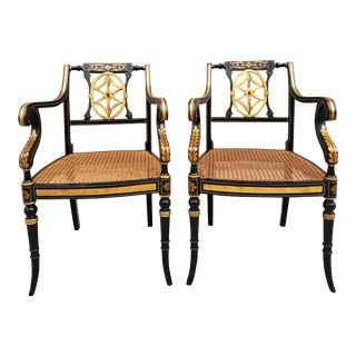 Antique English Regency Neoclassical Style Cane Seat Chairs-Pair For Sale