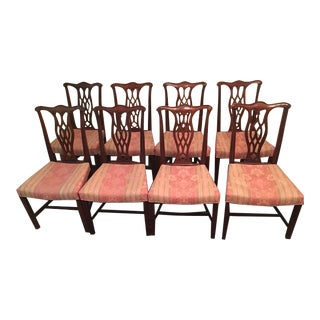 1990s Chippendale Style Mahagony Dining Chairs - Set of 10