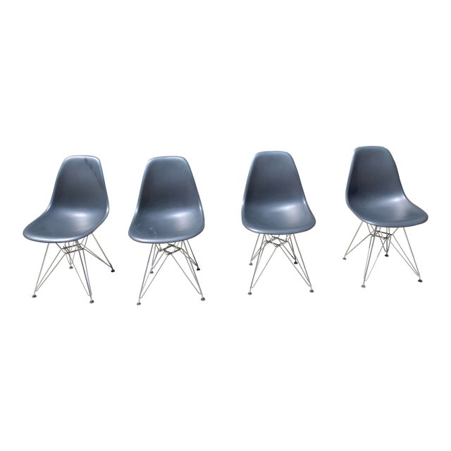 Black Eames Molded Plastic Side Chairs- Set of 4 For Sale