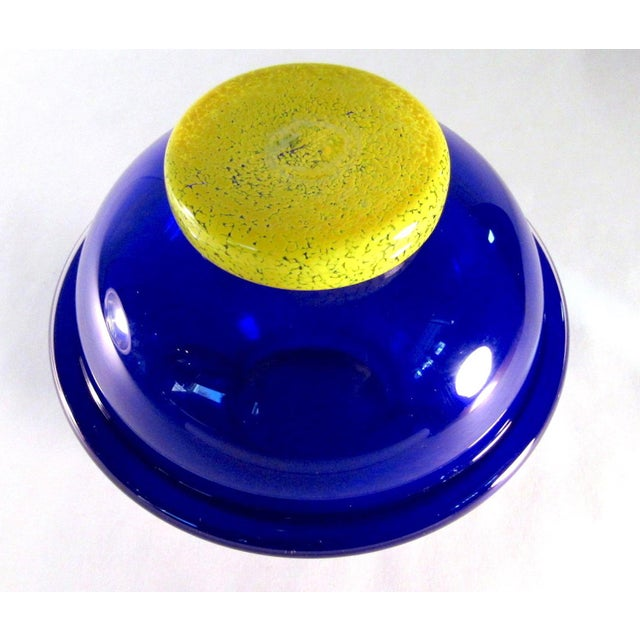 Vintage Signed Cobalt and Yellow Art Glass Amphora Vase For Sale - Image 10 of 11