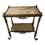 Image of Antique Bronze and Onyx Accent Table For Sale