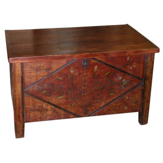 Painted Hope Chest Circa 1855 With Original Paint For Sale