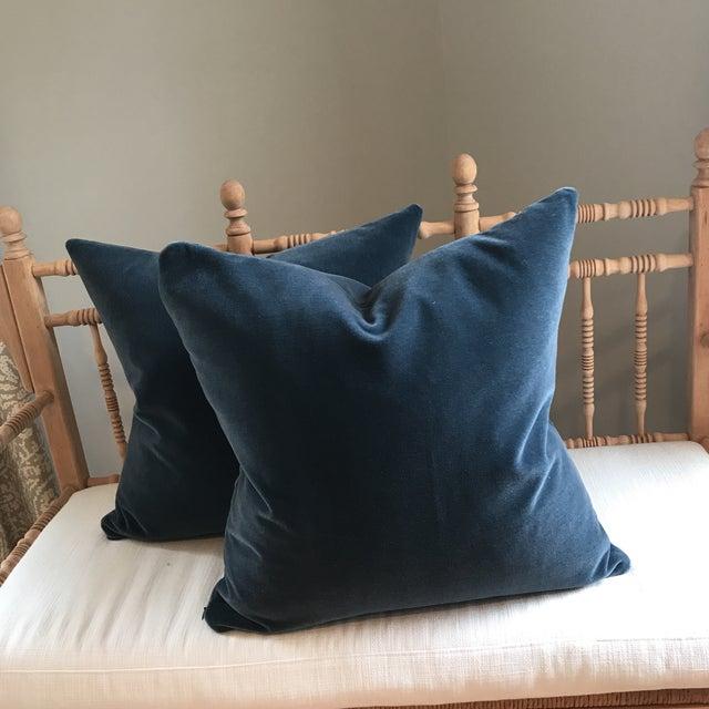 Hague Blue Mohair Velvet Pillows - a Pair For Sale - Image 4 of 9