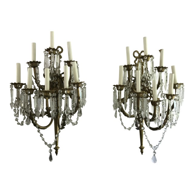 A Pair of Antique French Crystal Bronze 18 Light Sconce Pair - Image 1 of 6