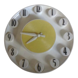 Mid-Century Mod Yellow Wall Clock For Sale