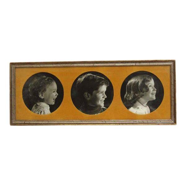 Vintage Framed Trio of Children's Portraits For Sale