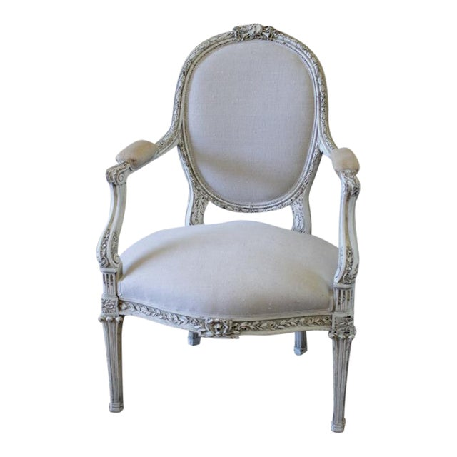 19th Century Carved and Painted French Chair in Antique Linen For Sale