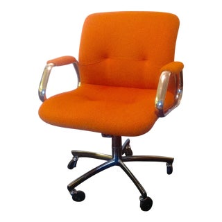 Panton Era Vintage Steelcase Chair in Orange Tweed