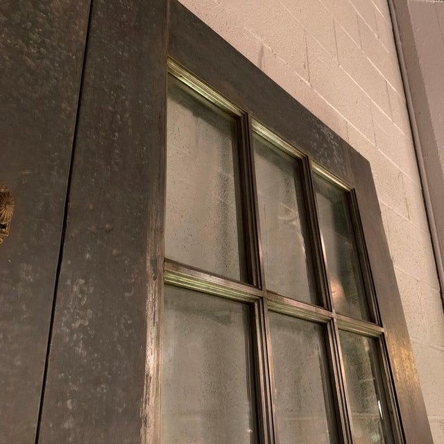 Industrial Tall Brushed Steel and Glass Doors For Sale In New York - Image 6 of 12