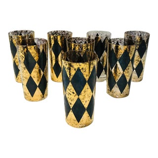 1960s Hollywood Regency Barware Glasses in Gold and Black - Set of 8 For Sale