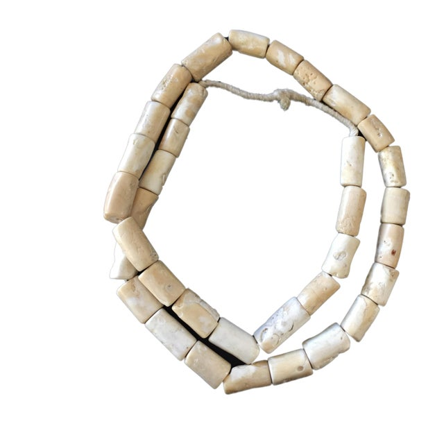1970s Trade African Natural White Coral 35 Beads For Sale - Image 5 of 8