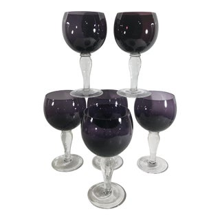 Traditional Contemporary / Modern Amethyst Purple Bowl and Clear Stem Glasses - Set of 6 Ballon Wine or Water For Sale