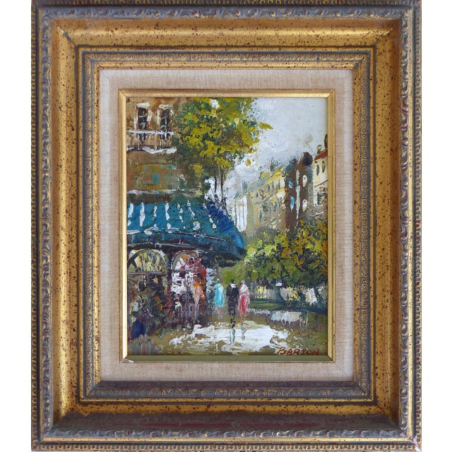 Offered for sale is a pair of 50's to 60's Paris street scene oil paintings on panel signed Barton. One painting is...