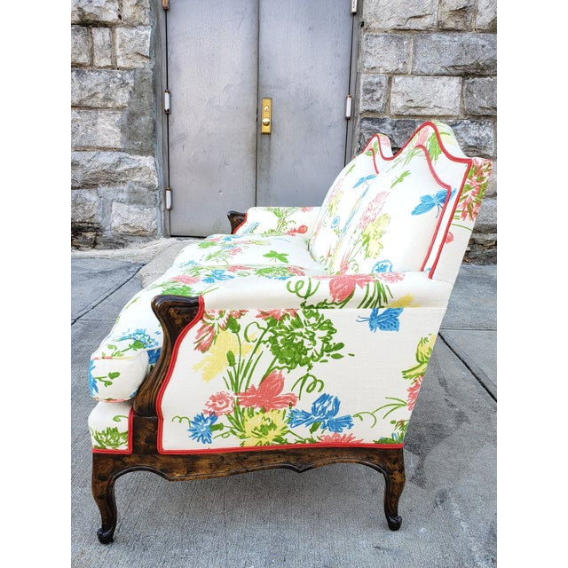 1950s Vintage Louis XV Style Floral Upholstery Settee For Sale - Image 5 of 13