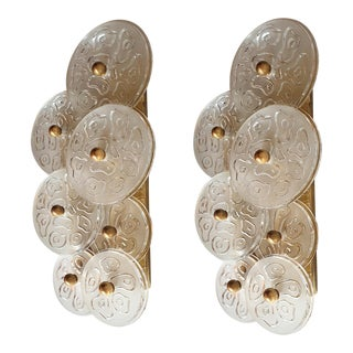 Mid Century Modern Murano Glass & Brass Sconces by Vistosi Italy 1960s - 2 Pairs For Sale
