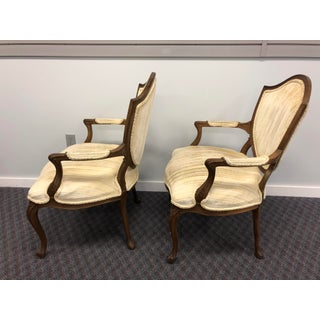 Vintage French Style Shield Back Upholstered Arm Chairs - a Pair Preview