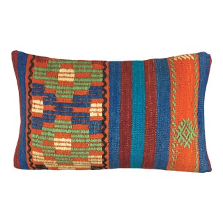 "Vivid Stripe Kilim Lumbar Pillow | 12"" X 20"" For Sale"