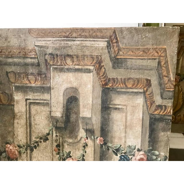 Rare Set of Four Italian 18th Century Panels, Gouache on Canvas For Sale - Image 9 of 11