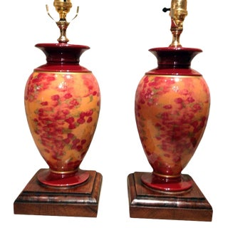 Vintage French Ceramic Lamps on Walnut Bases - a Pair For Sale