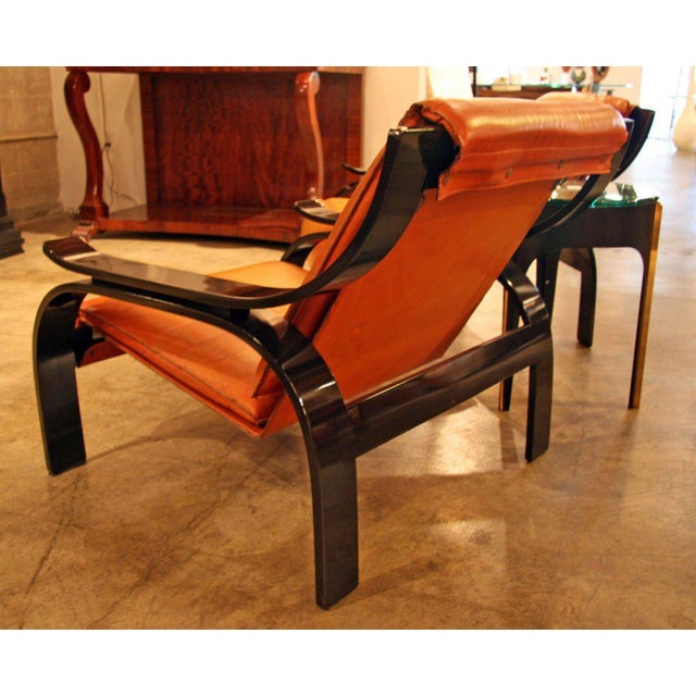 Marco Zanuso Pair of Marco Zanuso Armchairs in Leather for Arflex For Sale - Image 4 of 7