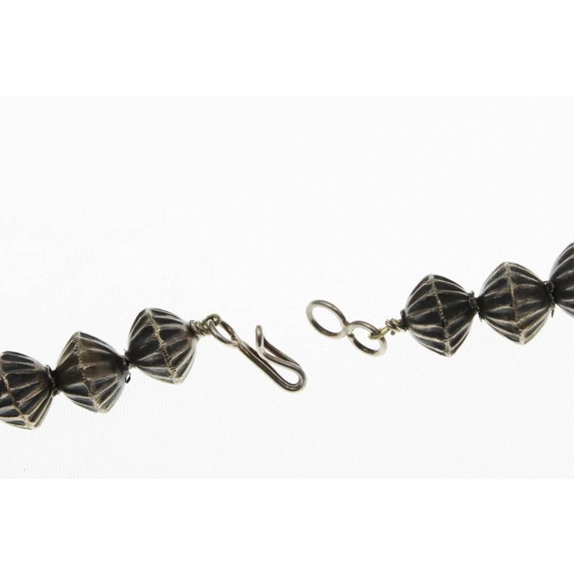 Navajo Vintage Mid Century Silver Squash Blossom Necklace For Sale - Image 3 of 9